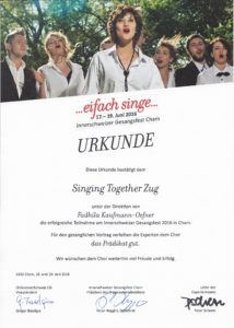 Urkunde Gesangsvortrag von Singing Together Zug